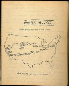 """Mapa dibujado a mano por Kerouac del primer viaje de """"En la carretera"""""""
