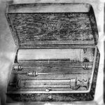 Syringe Pravaz, a hypodermic injections, disassembled and placed in the Case, vintage engraved illustration. Usual Medicine Dictionary by Dr Labarthe - 1885.