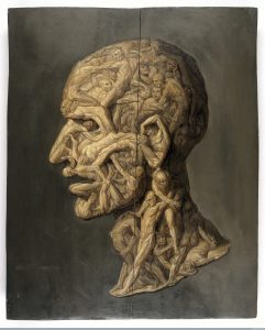 L0013119 Testa anatomica; man's head made up of writhing male figures.